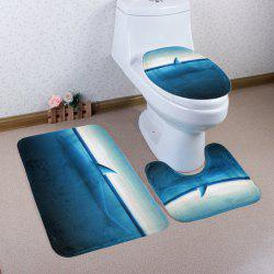 Ocean Shark Pattern 3 Pcs Bath Mat Toilet Mat - LIGHT BLUE