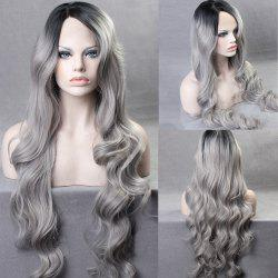 Ultra Long Side Part Colormix Gradient Body Wave Synthetic Wig - BLACK AND GREY