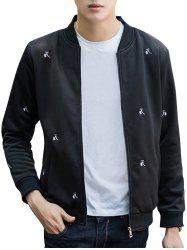 Zip Up Floral Embroidery Bomber Jacket