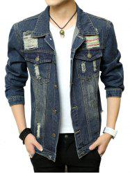 Chest Pocket Button Up Ripped Denim Jacket