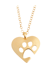 Cute Claw Footprint Heart Pendant Necklace -