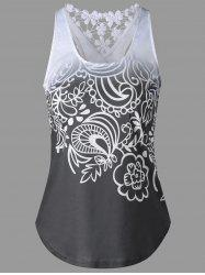 Lace Insert Ombre Printed Tank Top - MOUSE GREY M