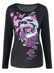 Skull and Butterfly Long Sleeve Top - BLACK