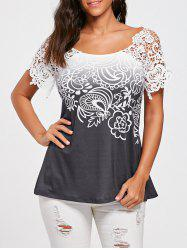 Floral Lace Trim Cutwork T-shirt