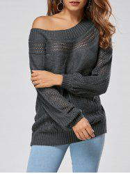 Casual Hollow Out Cable Knit Sweater - GRAY