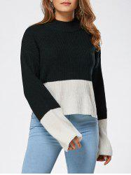 Drop Shoulder Two Tone High Low Sweater - BLACK ONE SIZE