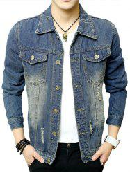 Chest Pocket Button Up Distressed Denim Jacket