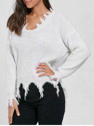 V Neck Distressed Sweater - WHITE