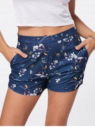 Mini Floral Print Shorts - BLUE