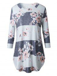 Casual Striped Floral Print Long Tee - LIGHT BLUE XL