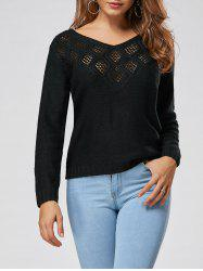 Crochet Panel V Neck Sweater - BLACK 2XL
