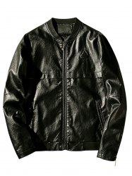 Zip Up Triangle Emboss Faux Leather Jacket