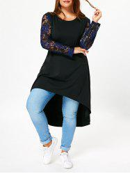 Lace Sleeve Plus Size High Low T-shirt Dress - BLACK