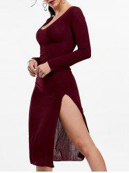 Low Cut Long Sleeve Slit Knit Dress