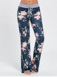 Floral Long Drawstring Waist Sleep Pants - COLORMIX