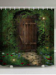 Fairy Forest Wood Door Printed Shower Curtain - DEEP GREEN