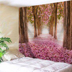 Sakura Scenery Throw Fabric Tapestry Wall Hanging - ROSE PÂLE Largeur59pouces*Longeur59pouces