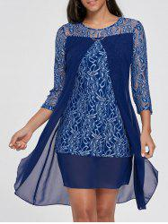 Sheer Lace Insert Mini Shift Dress - DEEP BLUE