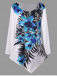 Plus Size Long Sleeve Floral Asymmetric Top -
