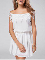 Off The Shoulder Lace Trim A Line Chiffon Dress - WHITE