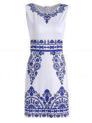 Porcelain Print Sleeveless Sheath Dress