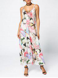 Rose Butterfly Print Slip Maxi Dress - FLORAL