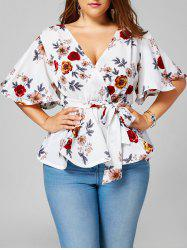 Plus Size Belted Floral Surplice Peplum Blouse - WHITE