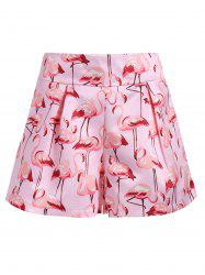 Flamingo Print High Waist Mini Shorts - LIGHT PINK
