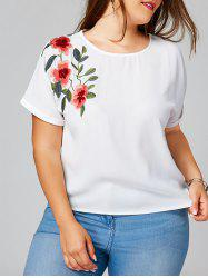 Floral Embroidery Batwing Sleeve Plus Size Blouse