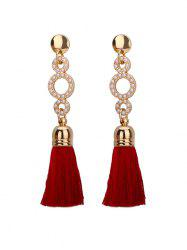 Tassel Small Faux Pearl Circle Long Earrings