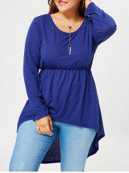 Plus Size Long Sleeve High Low T-shirt