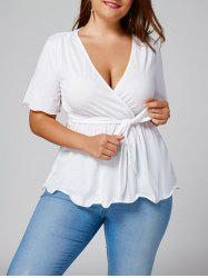 Plus Size Empire Waist Belted Surplice Blouse - WHITE