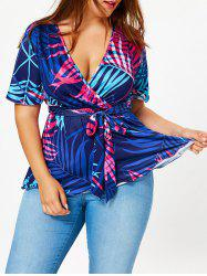 Tropical Print Plus Size Belted Surplice Blouse