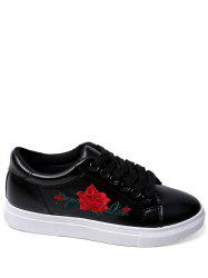Embroidery Faux Leather Athletic Shoes - BLACK