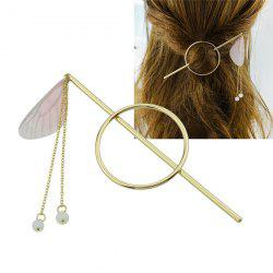 Alloy Fringed Chain Circle Beads Hair Stick - PINK