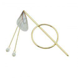 Alloy Fringed Chain Circle Beads Hair Stick - GRAY