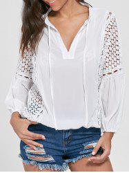 Openwork Long Sleeve Blouson Chiffon Top