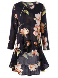 Flounce High Low Floral Print Tunic Blouse