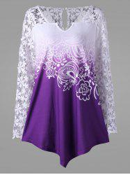 Ombre Lace Yoke Long Sleeve Blouse - PURPLE