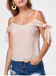 V Neck Self Tie Spaghetti Strap T-shirt