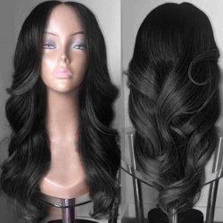 Long Middle Parting Colormix Wavy Synthetic Wig - BLACK