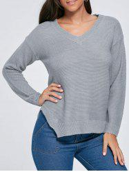 Knit Side Slit V Neck Sweater - GRAY M