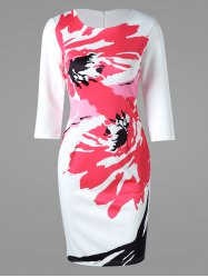 Printed Bodycon Mini Dress - WHITE XL
