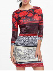 Tribal Print Mini Bodycon Dress - COLORMIX