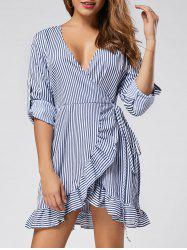 Long Sleeve Ruffle Stripe Mini Wrap Dress