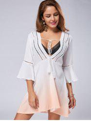 Low Cut Flare Sleeve Ombre Print Dress