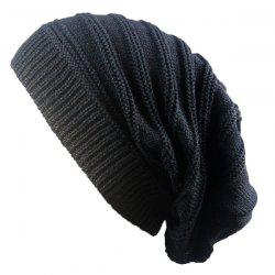 Stacking Striped Ribbing Knitted Beanie Hat - BLACK