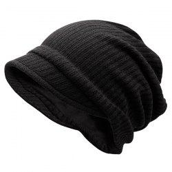 Warm Stripe Knitting Beanie - BLACK