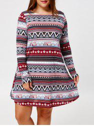 Plus Size Long Sleeve Tribal Tunic Dress