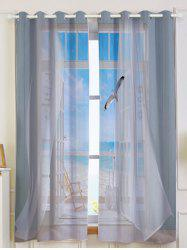 2Pcs Blackout Faux Window Seagull Pattern Window Curtains - GREY WHITE W53 INCH * L63 INCH
